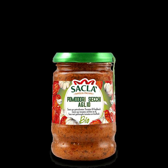 Bio-Pastasauce aus getrockneten Tomaten und Knoblauch