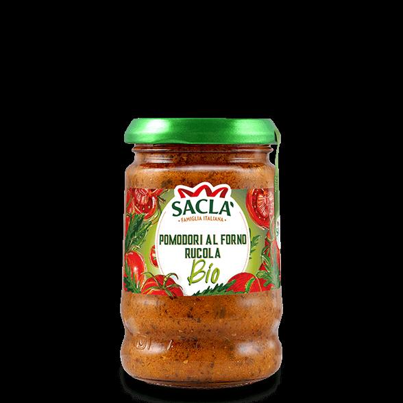 Bio-Pastasauce aus ofengebackenen Tomaten und Rucola