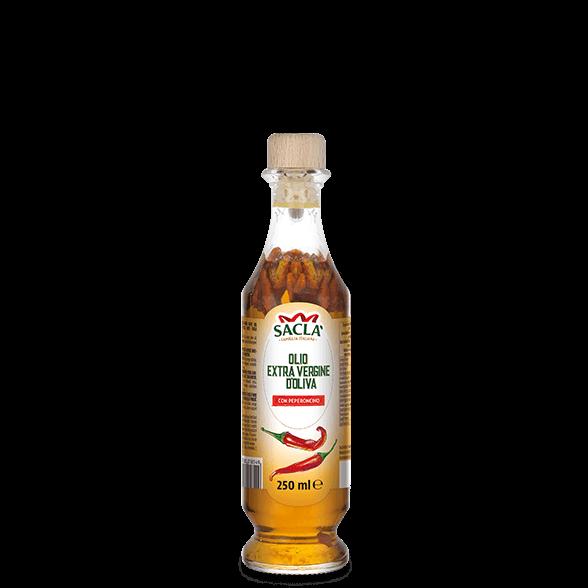 Natives Olivenöl extra mit Chilischoten